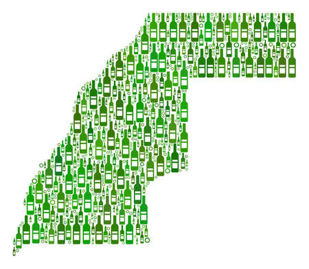 Western Sahara Map collage of wine bottles and circle bubbles in variable sizes and green color tones. Abstract Western Sahara Map vector composition.