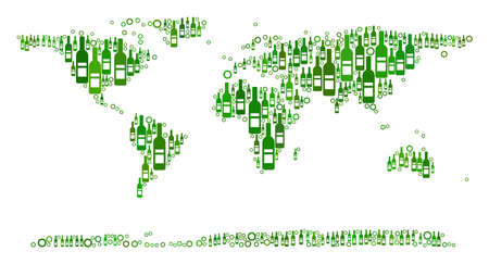 World Continent Map mosaic of wine bottles and circle bubbles in different sizes and green color tinges. Abstract World Continent Map vector combination. Иллюстрация