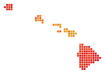 Pixel fire Havaii Islands Map. Vector geographical map in orange color shades on a white background. Vector collage of Havaii Islands Map designed of square pixels.