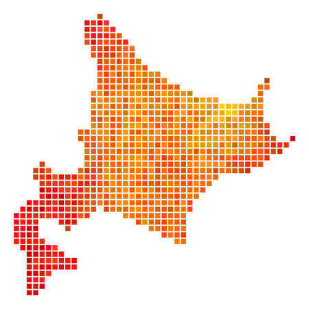Pixel orange Hokkaido Island Map. Vector geographic map in bright orange color tints on a white background. Vector concept of Hokkaido Island Map created of square dots. Illustration