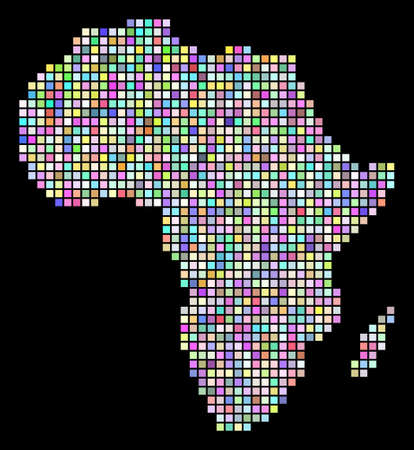Pixel Africa Map. Vector geographic map in arbitrary colors on a black background. Vector mosaic of Africa Map designed of regular square particles.