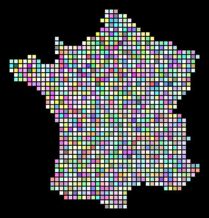 Pixel France Map. Vector geographic map in arbitrary colors on a black background. Vector collage of France Map created with regular small rectangles.