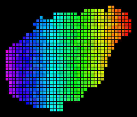 Abstract Hainan Island Map. Vector territory scheme in impressive rainbow color tones on a black background. Abstract Hainan Island Map collage is composed of impressive small squares.