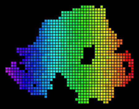 Colorful Northern Ireland Map. Vector territory scheme in impressive spectral color tinges on a black background. Abstract Northern Ireland Map concept is organized of impressive square dots. Ilustração