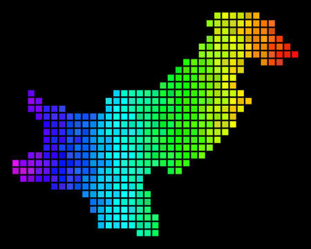 Pixel Pakistan Map. Vector territory plan in impressive spectrum color hues on a black background. Abstract Pakistan Map composition is combined of impressive dot elements.