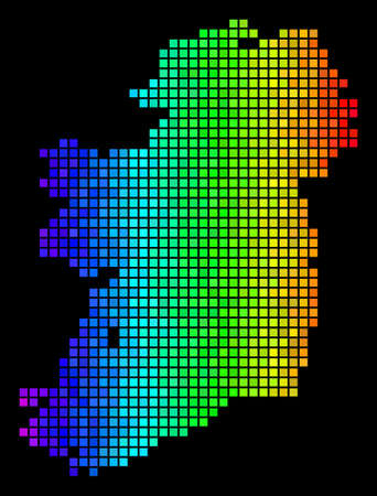 Pixel Ireland Island Map. Vector territory plan in glossy rainbow color shades on a black background. Abstract Ireland Island Map collage is formed with glossy rectangle spots.