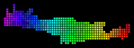 Spectrum Crete Island Map. Vector territorial plan in bright rainbow color tints on a black background.