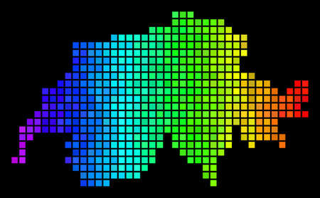 Digital Swissland Map. Vector territory scheme in bright spectrum color tinges on a black background. Abstract Swissland Map composition is constructed with multicolored dot elements.