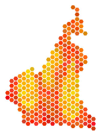 African Cameroon map. Vector hexagon territory map using orange color hues. Abstract African Cameroon map composition is done of fire hex tile blots.