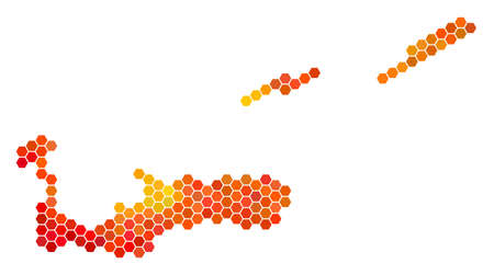 Cayman Islands map. Vector honeycomb geographic map in bright orange color tints. Impressive Cayman Islands map collage is designed with flame hex-tile pixels.
