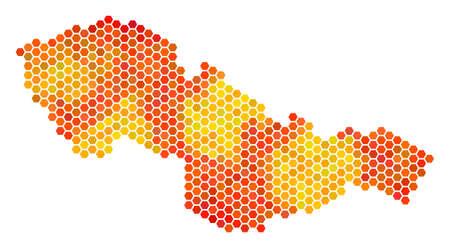 Czechoslovakia map. Vector hexagonal territorial scheme drawn with bright orange color tints.