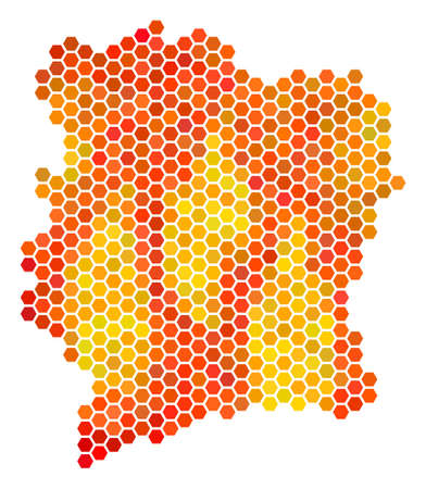 Cote D'Ivoire map. Vector hexagonal geographic plan using bright orange color shades.  イラスト・ベクター素材