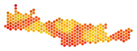 Crete Island map. Vector hexagon territory map using flame color tints. Illustration