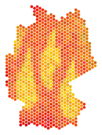 Germany map. Vector honeycomb territorial scheme drawn with hot color tones. Abstract Germany map concept is done with fired hexagon elements. Illusztráció