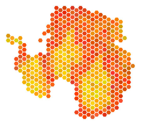 Antarctica map. Vector hex-tile territory map drawn with flame color tinges. Abstract Antarctica map mosaic is combined of orange honeycomb elements.