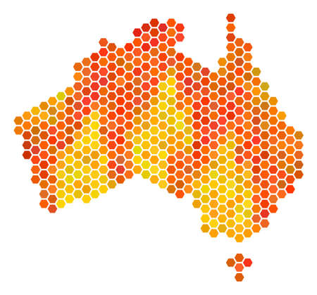 Australia map. Vector honeycomb geographic map drawn with flame color tints. Impressive Australia map collage is organized with fire honeycomb dots. Illustration