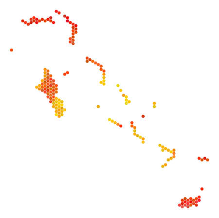 Bahamas Islands map. Vector hexagonal geographic plan drawn with fire color tints. Impressive Bahamas Islands map concept is created of orange hex-tile items.