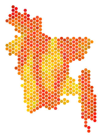 Bangladesh map. Vector hexagon territorial plan using orange color shades. Impressive Bangladesh map concept is made with fire hex-tile blots. 矢量图像