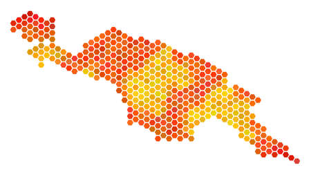 New Guinea Island map. Vector hex tile geographic map using bright orange color tints. Abstract New Guinea Island map concept is done with flame hex tile pixels.
