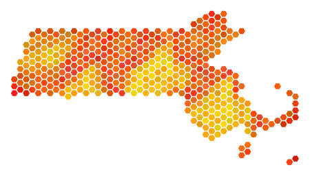 Massachusetts State map. Vector hex tile territorial scheme using bright orange color tints. Abstract Massachusetts State map concept is combined of fired honeycomb spots. Illustration
