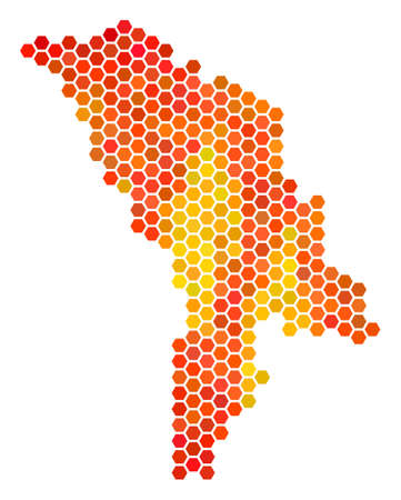 Moldova map. Vector honeycomb territorial scheme drawn with bright orange color tinges. Impressive Moldova map composition is constructed of flame hexagonal elements.