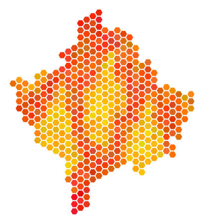Kosovo map. Vector hexagonal geographic plan drawn with fire color tones. Abstract Kosovo map collage is created of fire hex-tile dots. Illustration