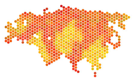 Eurasia map. Vector hex-tile geographic map in bright orange color shades. Abstract Eurasia map mosaic is formed of hot hex-tile dots.
