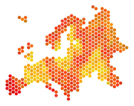 Europe map. Vector honeycomb territorial plan using bright orange color tints. Impressive Europe map concept is composed of hot hexagon elements. Illustration