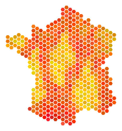 France map. Vector hex-tile territorial map in orange color hues. Abstract France map composition is constructed of fire hexagon spots.