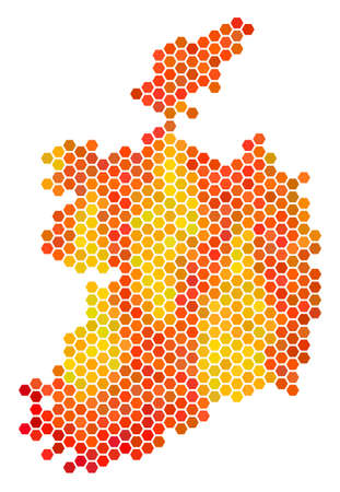 Ireland Republic map. Vector hex-tile territory scheme using bright orange color shades. Abstract Ireland Republic map mosaic is combined with burn hex tile spots. Illustration