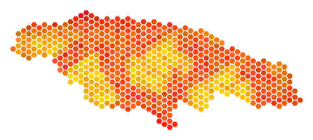 Jamaica map. Vector hexagonal territorial map drawn with orange color hues. Abstract Jamaica map mosaic is constructed with hot hexagonal items.