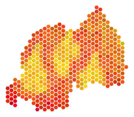 rwanda map vector hex tile territory scheme drawn with bright