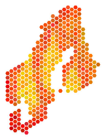 Scandinavia map. Vector hex tile territory map in hot color variations. Abstract Scandinavia map concept is combined with fired hexagonal blots.