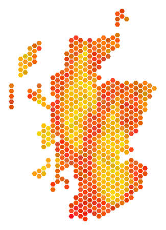 Scotland map. Vector honeycomb territorial map using hot color tints. Impressive Scotland map composition is organized of burn hexagon pixels. Illustration