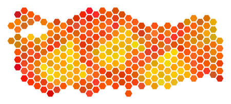 Turkey map. Vector hexagonal territorial plan in hot color shades. Abstract Turkey map collage is organized of flame hexagonal dots.