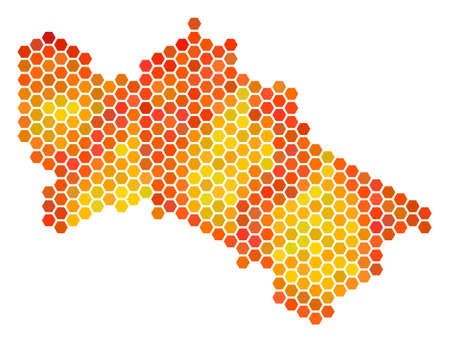 Turkmenistan map. Vector hex tile territorial plan in fire color tints. Impressive Turkmenistan map composition is created of orange honeycomb blots.