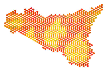 Sicilia map. Vector honeycomb territory scheme using fire color tinges. Abstract Sicilia map mosaic is constructed of orange honeycomb elements.