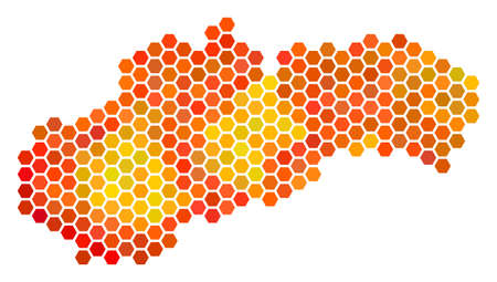 Slovakia map. Vector hex-tile territory map drawn with bright orange color shades. Abstract Slovakia map collage is organized of hot hexagonal elements. Illustration