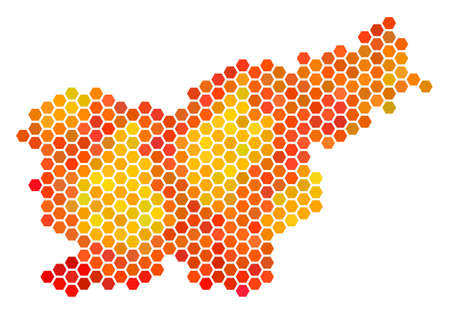 Slovenia map. Vector hexagon territory map using fire color tints. Impressive Slovenia map composition is designed of fire hex tile pixels.