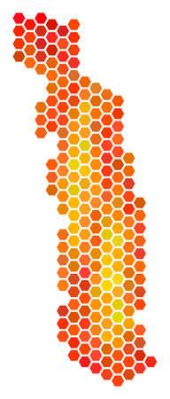 Togo map. Vector hexagonal territory plan drawn with hot color tinges. Impressive Togo map collage is composed of flame hex tile pixels. Ilustração
