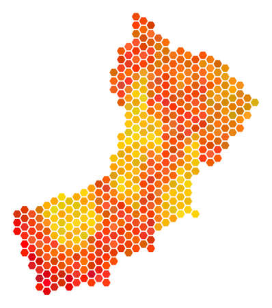 Oman map. Vector hex-tile territorial map using orange color shades. Abstract Oman map concept is formed with burn hexagon items. Illustration