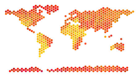 World Continent map. Vector hex-tile territory scheme in bright orange color hues. Impressive World Continent map concept is constructed of fire hexagon dots. Illustration