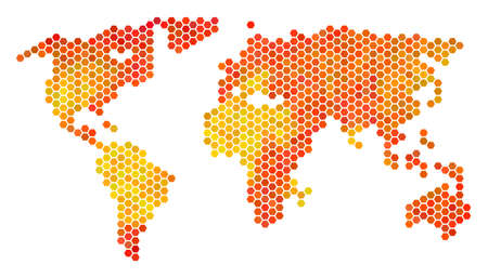 World map. Vector hex tile territorial scheme drawn with bright orange color tones. Impressive World map composition is designed of orange hexagon pixels.