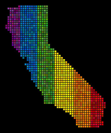 Digital LGBT California map for lesbians, gays, bisexuals, and transgenders. Vector geographic plan in LGBT pride color tints on a black background. Rainbow gradient has horizontal direction.