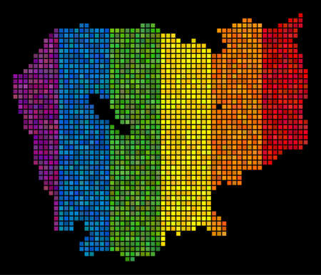 Pixel LGBT Cambodia map for lesbians, gays, bisexuals, and transgenders. Vector geographic map in LGBT flag color tinges on a black background. Rainbow gradient has horizontal direction.