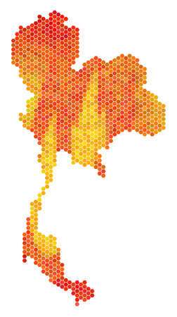 Thailand map. Vector hex tile territory scheme drawn with orange color variations. Abstract Thailand map concept is composed of fire hex-tile elements.