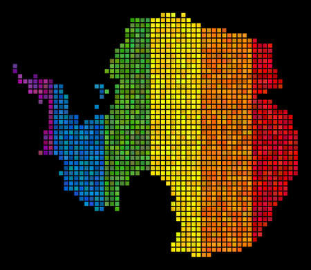 Dotted Pixel LGBT Antarctica map for lesbians, gays, bisexuals, and transgenders. Vector geographic scheme in LGBT flag color variations on a black background. 일러스트
