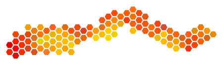 The Gambia map. Vector hexagonal territorial map in flame color tinges. Impressive The Gambia map composition is constructed of hot honeycomb pixels.