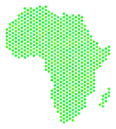 Eco green Africa map. Vector hex tile geographic scheme using eco green color tones. Abstract Africa map concept is done of honeycomb elements.