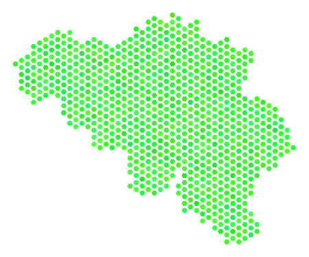 Eco green Belgium map. Vector hexagonal territorial plan using green color shades. Abstract Belgium map composition is combined of hex-tile elements. Illustration